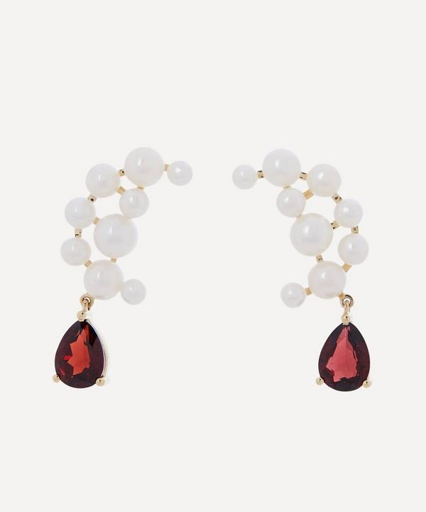 Gold Blood Sisters Pearl and Garnet Drop Earrings