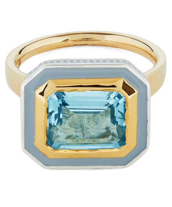 Gold Silver Tile Mini Emerald Cut Aquamarine Ring