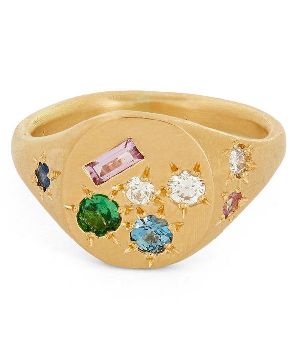Gold Treasure Multi-Stone Signet Ring