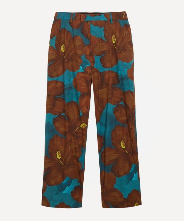 Hibiscus Straight-Leg Cotton Trousers