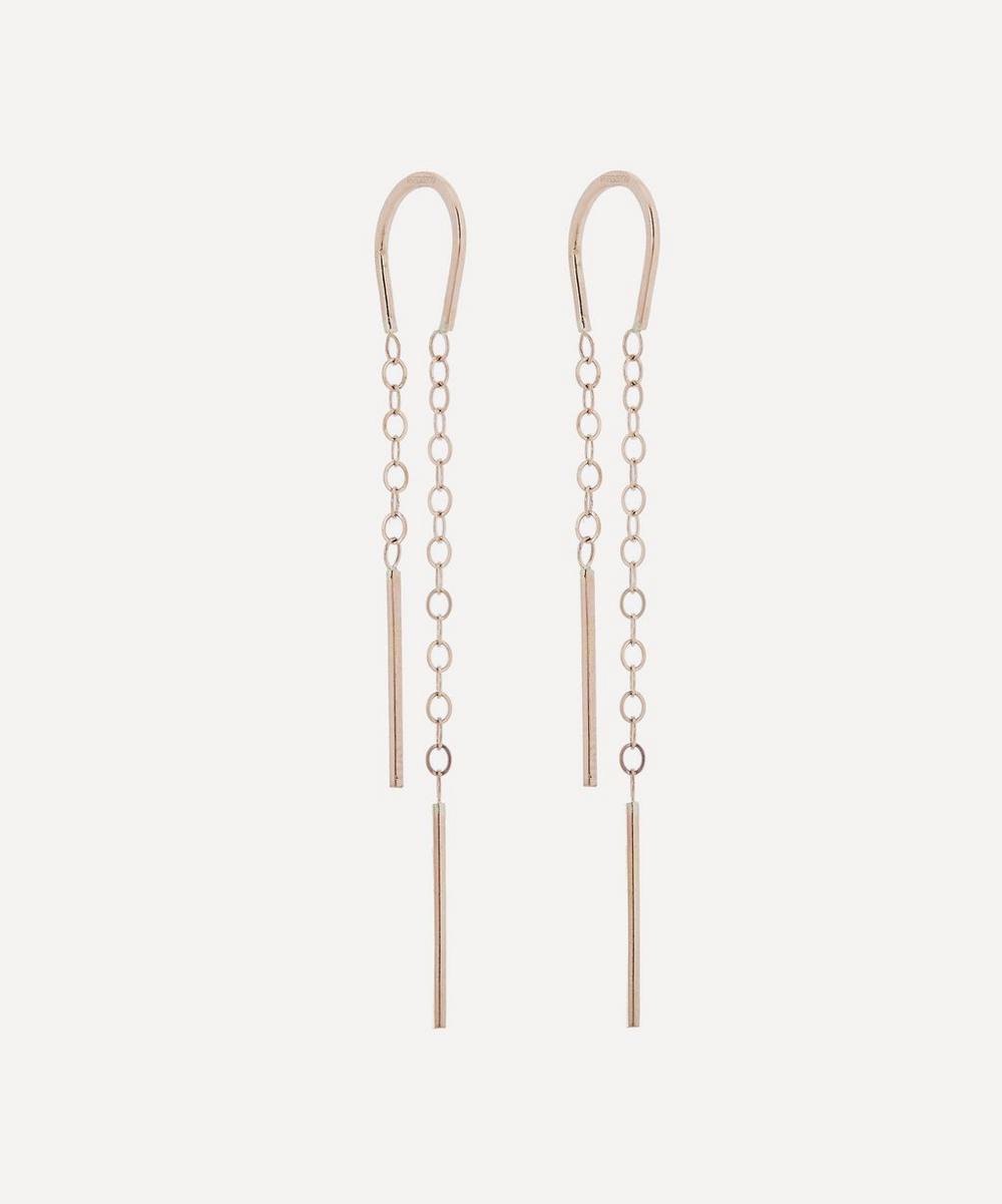 Gold Horseshoe Chain Drop Earrings