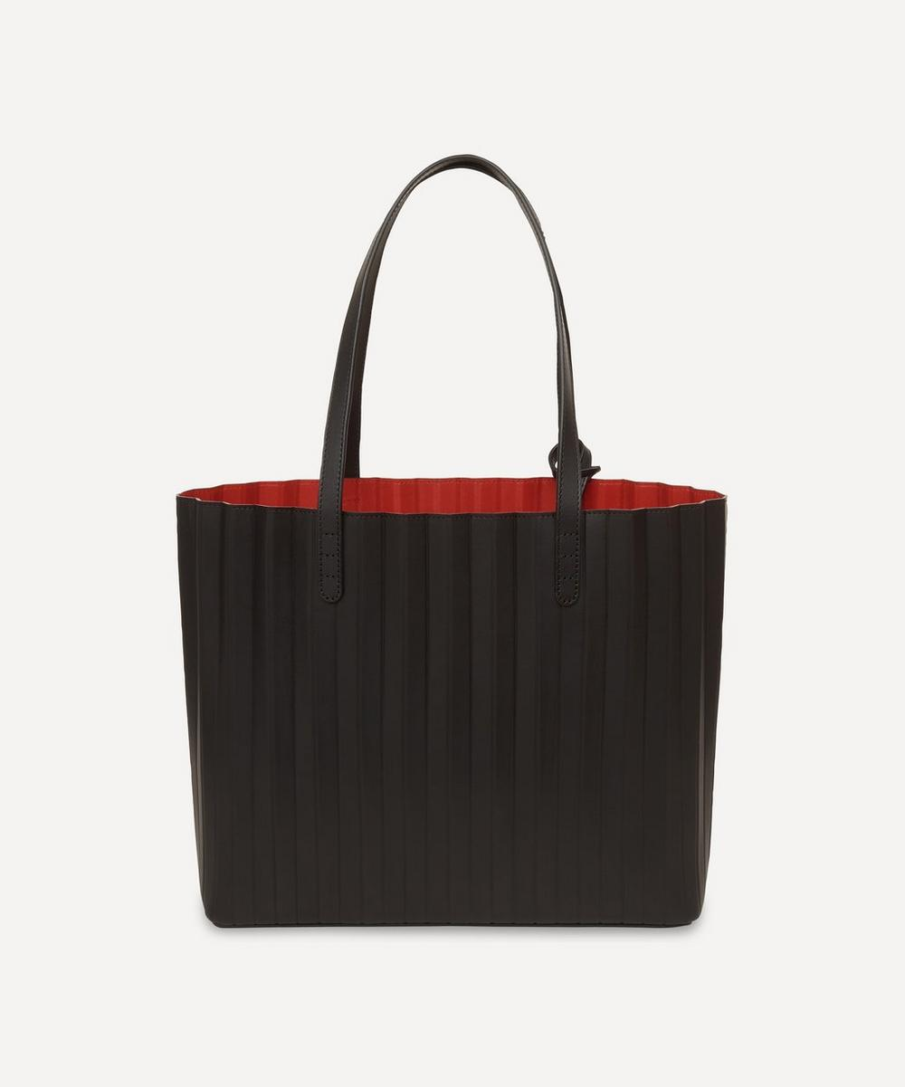 Pleated Leather Tote Bag