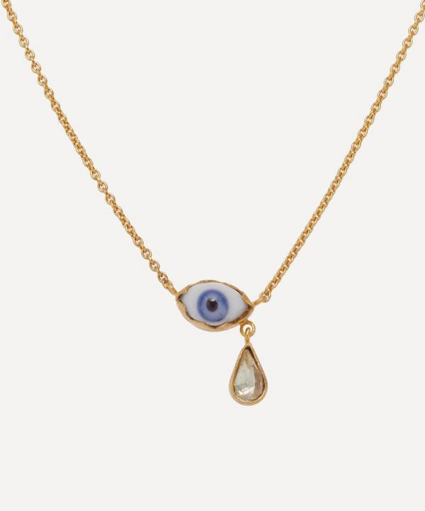 Gold-Plated Eye Teardrop Pendant Necklace