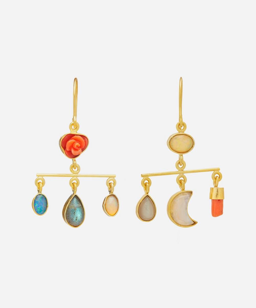 Gold-Plated Balance Asymmetric Multi-Stone Drop Earrings