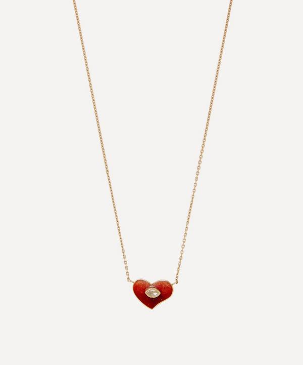 Gold Red Heart Engraved Enamel Diamond Pendant Necklace