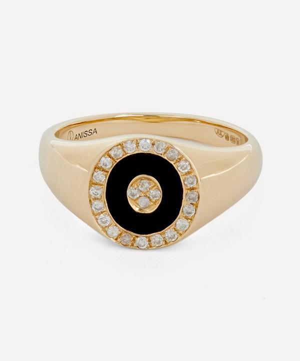 Gold Douce Cavalcade Noir Black Onyx and Diamond Signet Ring