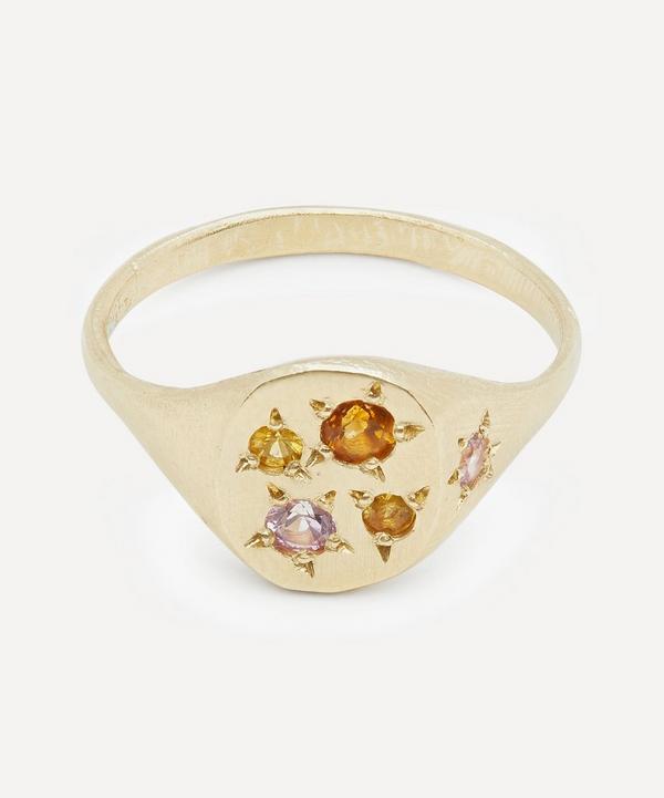 Gold Neapolitan Peach Multi-Stone Signet Ring