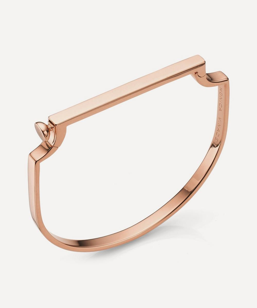 Rose Gold Plated Vermeil Silver Signature Thin Bangle