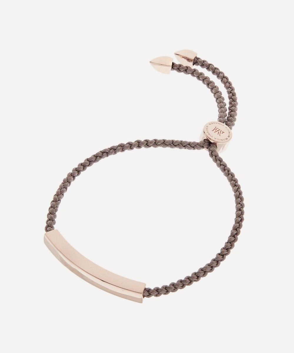 Rose Gold Plated Vermeil Silver Linear Cord Friendship Bracelet