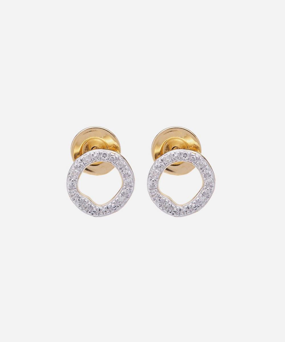 Gold Plated Vermeil Silver Riva Diamond Circle Stud Earrings