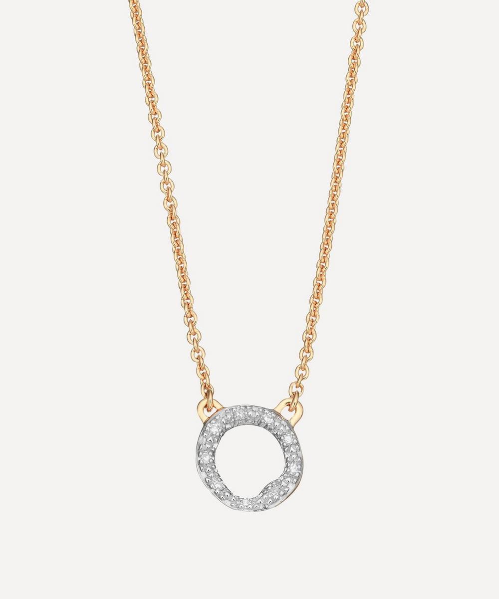 Gold Plated Vermeil Silver Riva Mini Diamond Circle Pendant Necklace