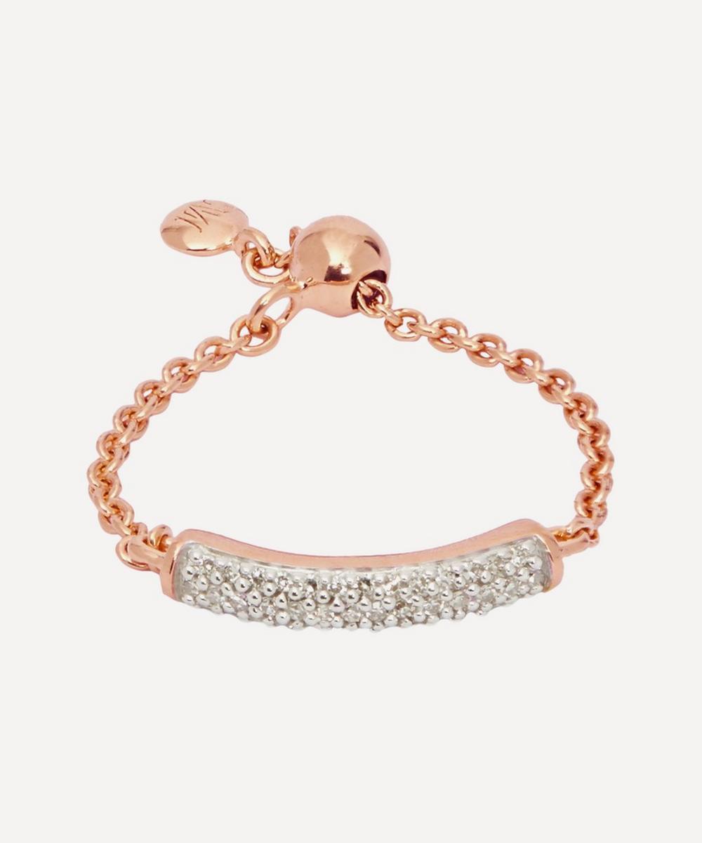 Rose Gold Plated Vermeil Silver Fiji Diamond Bar Friendship Ring