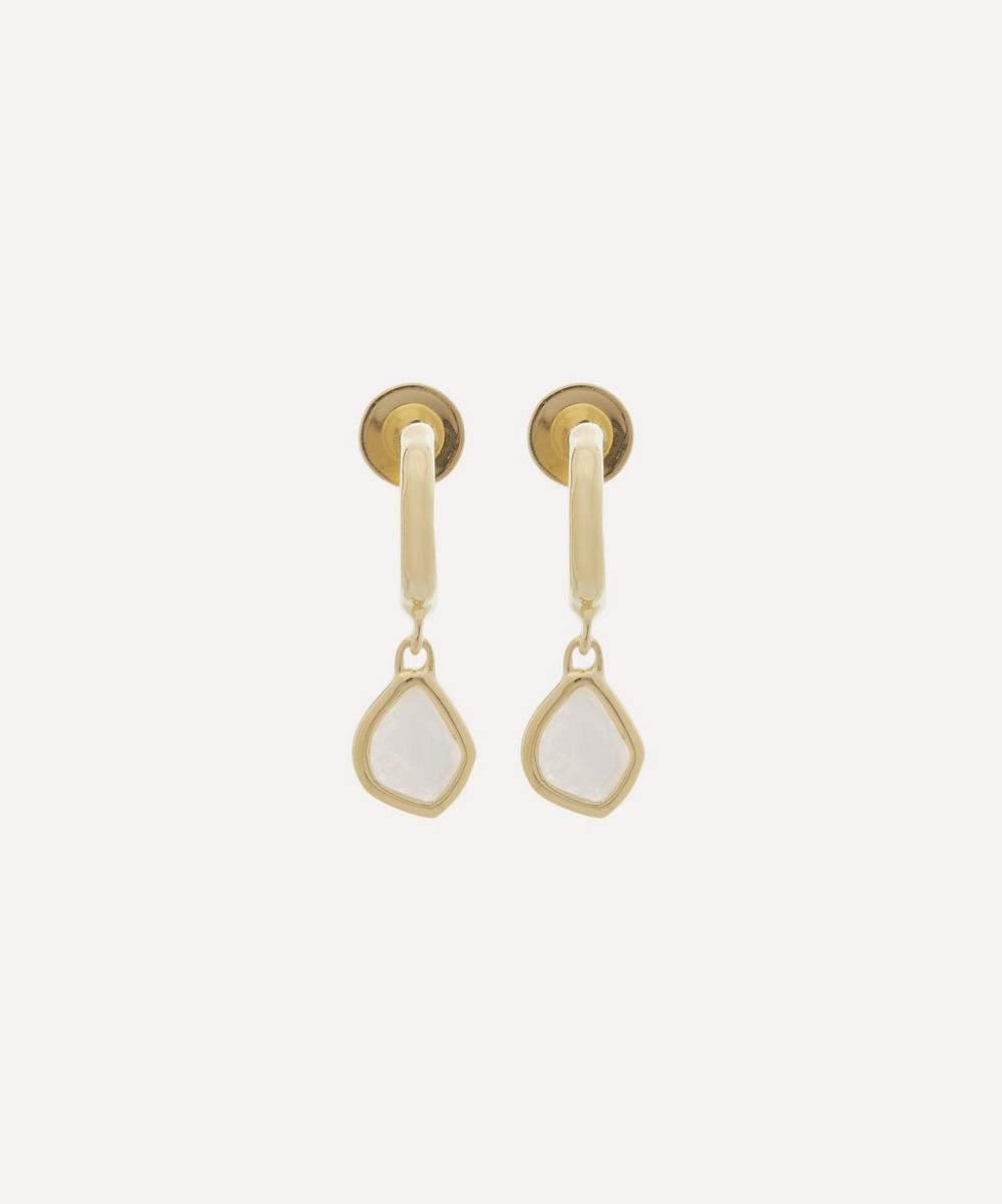 Gold Plated Vermeil Silver Siren Moonstone Mini Nugget Drop Earrings
