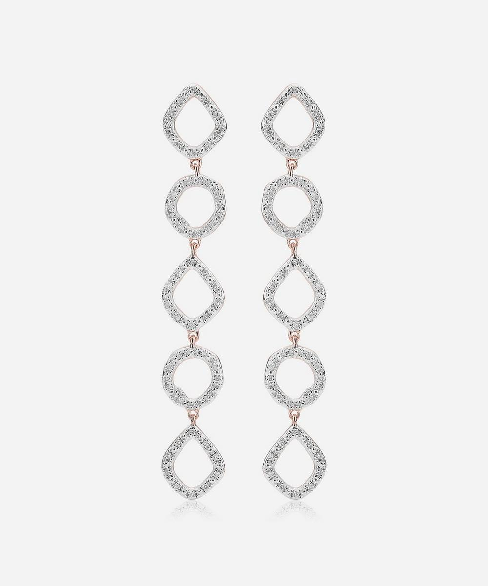 Rose Gold Plated Vermeil Silver Riva Mini Diamond Cluster Cocktail Earrings