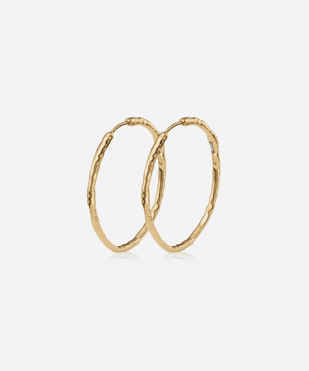 Gold Plated Vermeil Silver Siren Muse Large Hoop Earrings