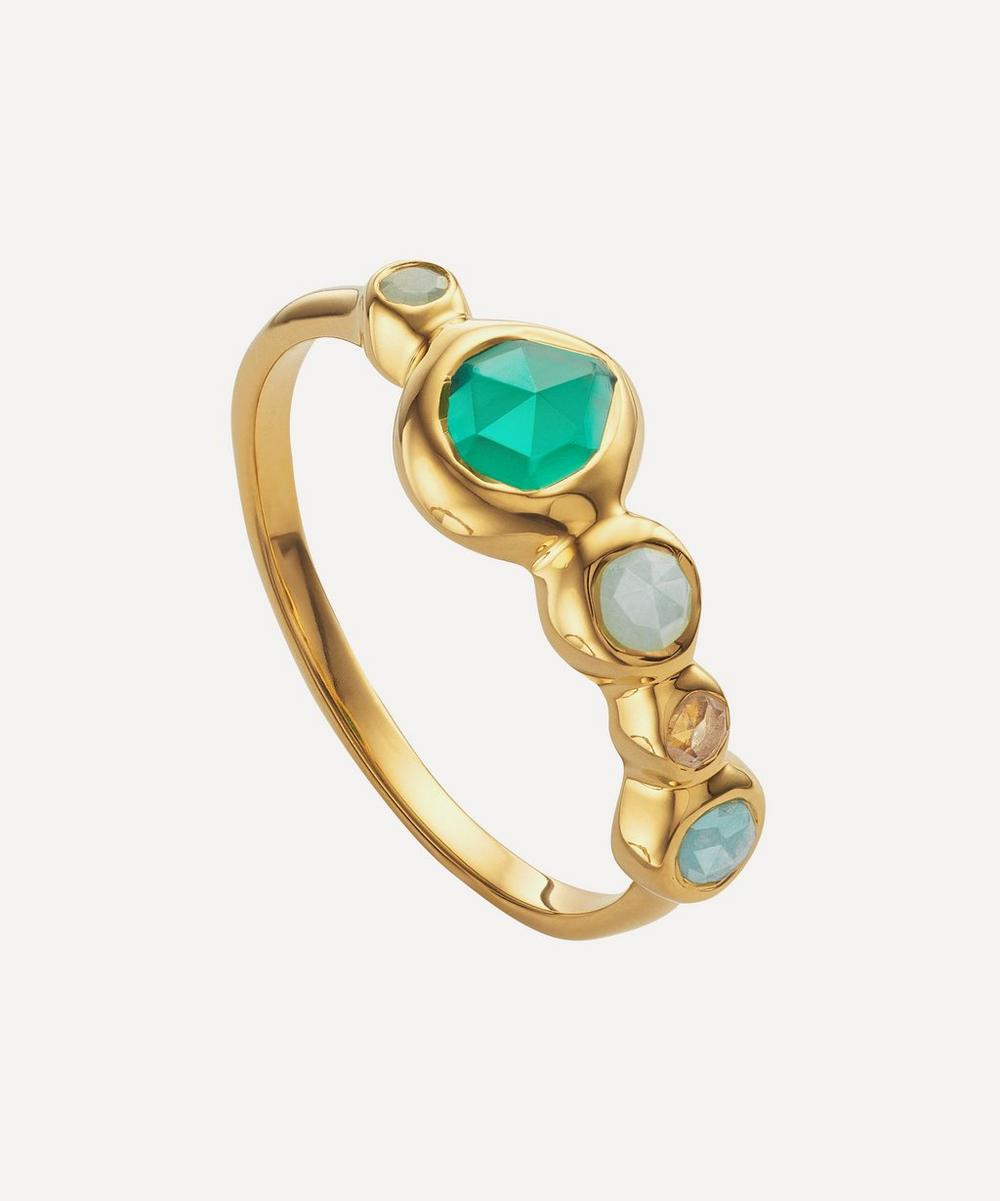 Gold Plated Vermeil Silver Siren Tonal Multi-Stone Half Eternity Ring