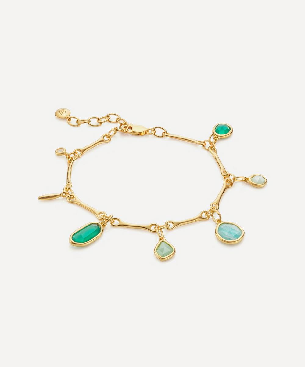 Gold Plated Vermeil Silver Siren Tonal Multi-Stone Drop Bracelet