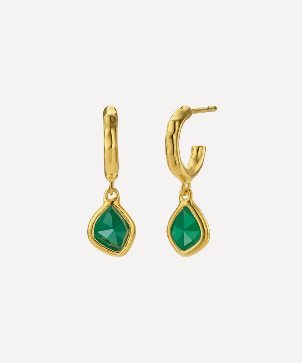 Gold Plated Vermeil Silver Siren Green Onyx Mini Nugget Hoop Earrings