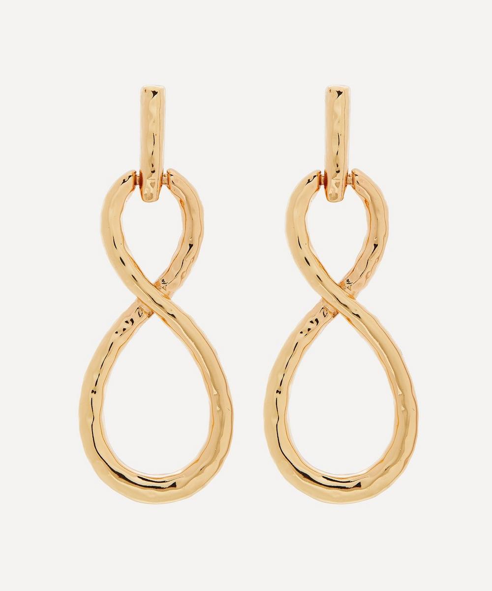 Gold-Plated Twist Loop Drop Earrings