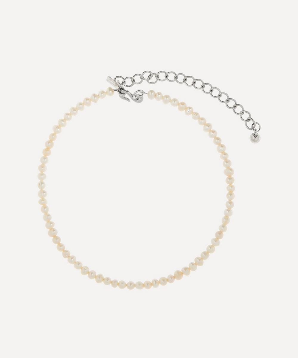 Rhodium-Plated Freshwater Pearl Choker Necklace