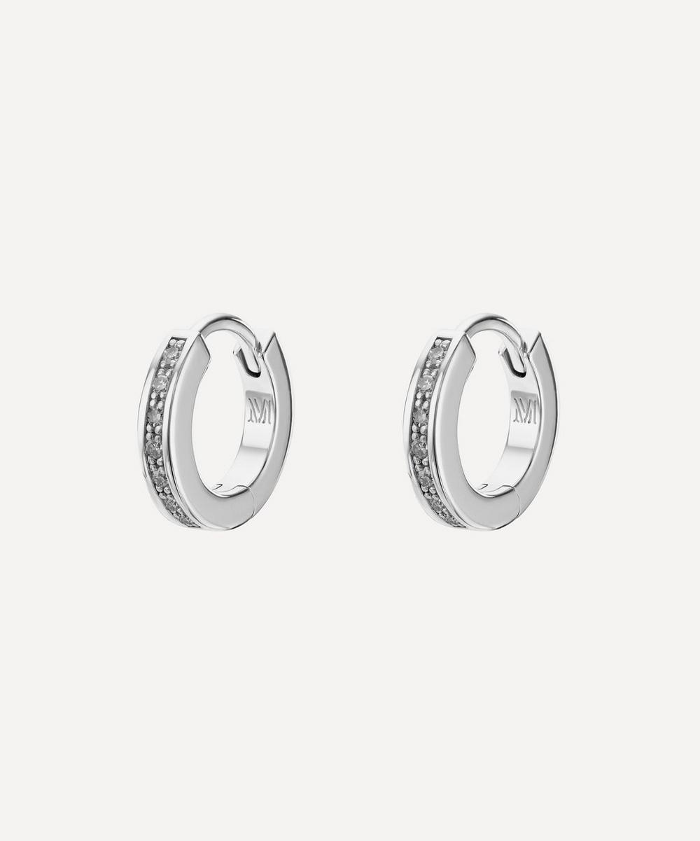 Silver Skinny Diamond Huggie Hoop Earrings