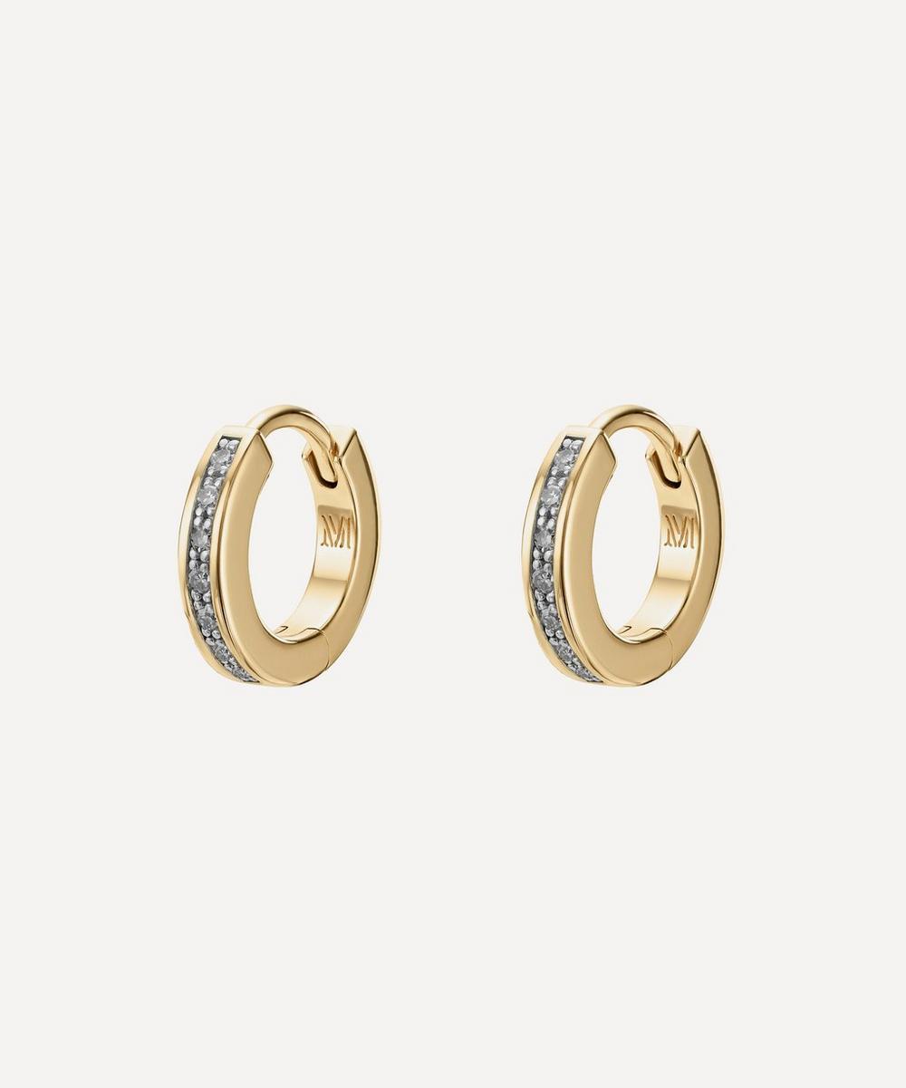 Gold Plated Vermeil Silver Skinny Diamond Huggie Hoop Earrings