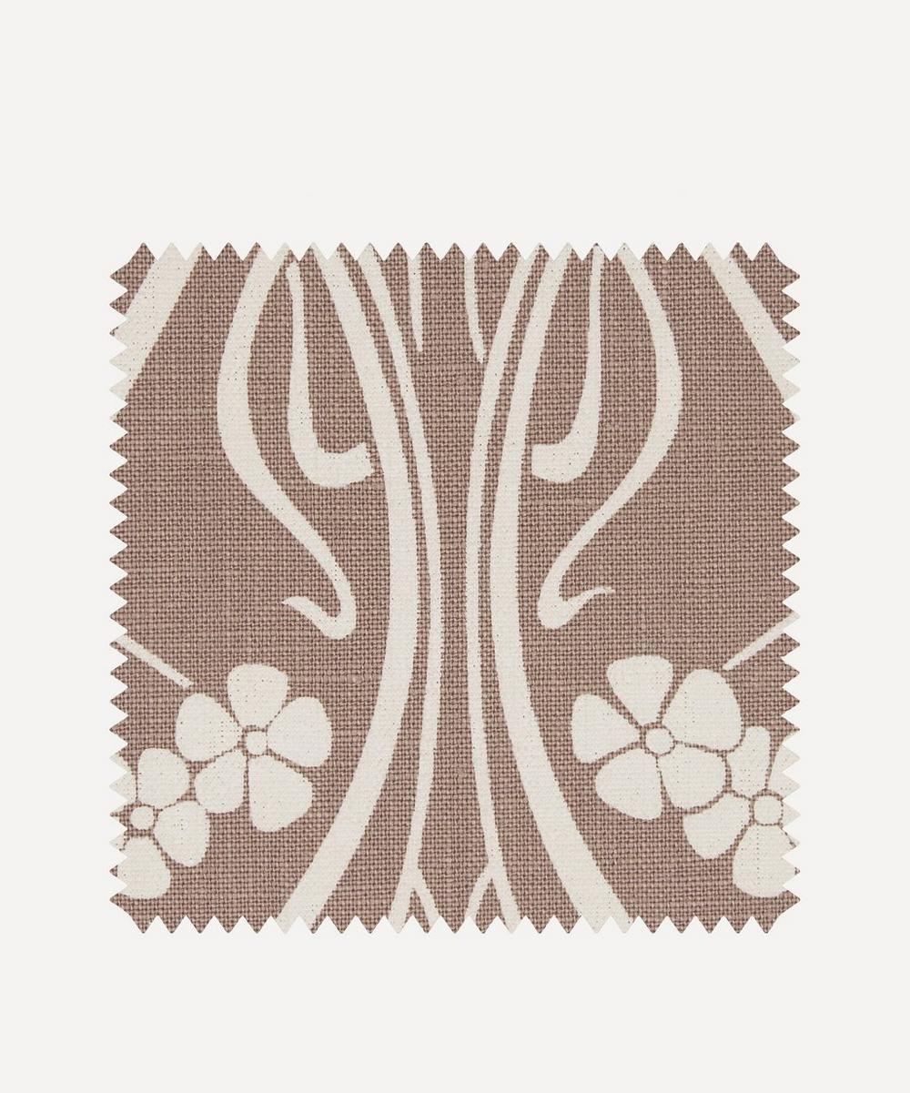 Fabric Swatch - Ianthe Bloom Stencil Chiltern Linen in Lacquer