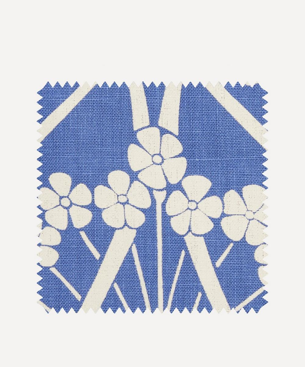 Fabric Swatch - Ianthe Bloom Stencil Chiltern Linen in Lapis