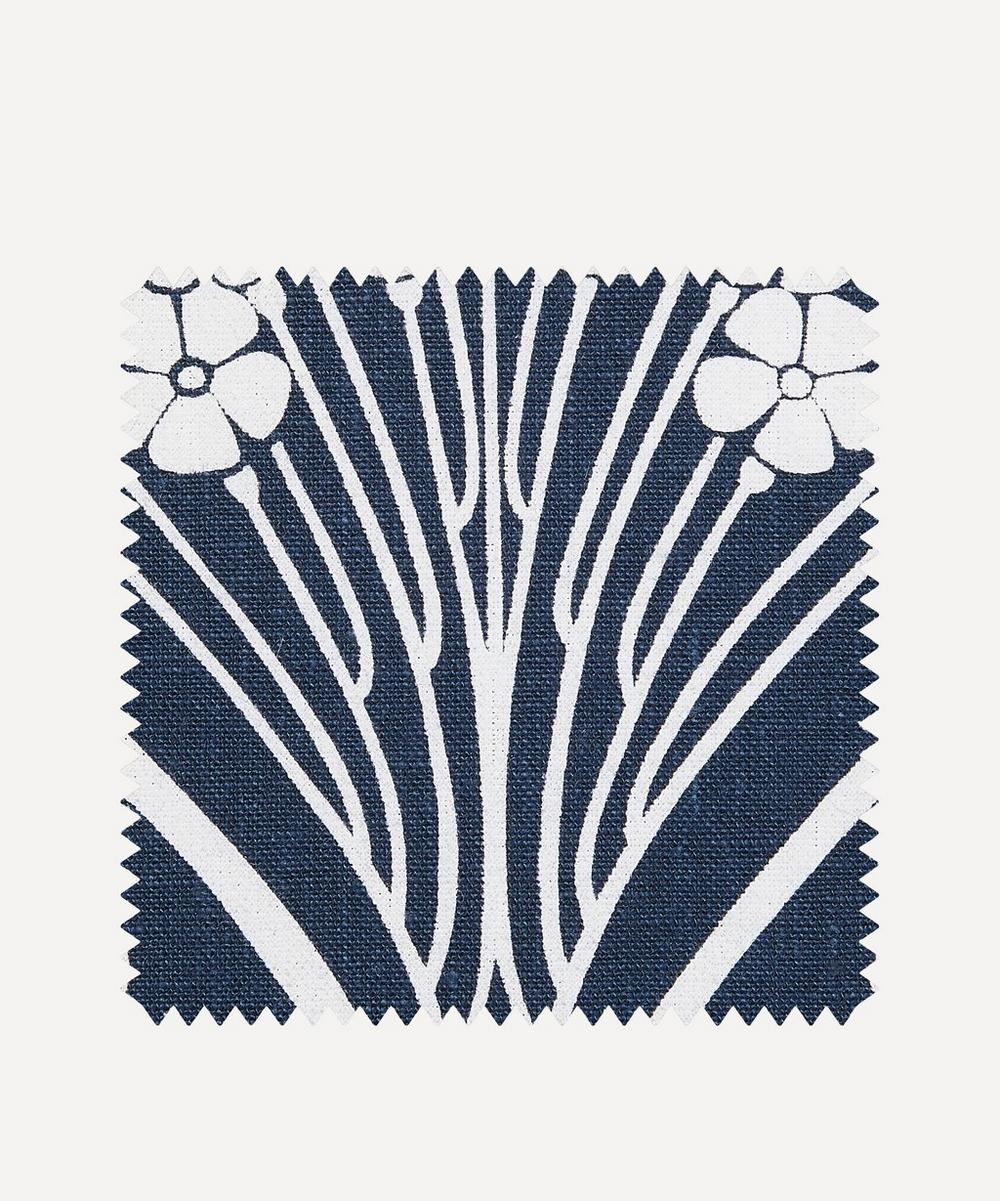Fabric Swatch - Ianthe Bloom Stencil Chiltern Linen in Pewter
