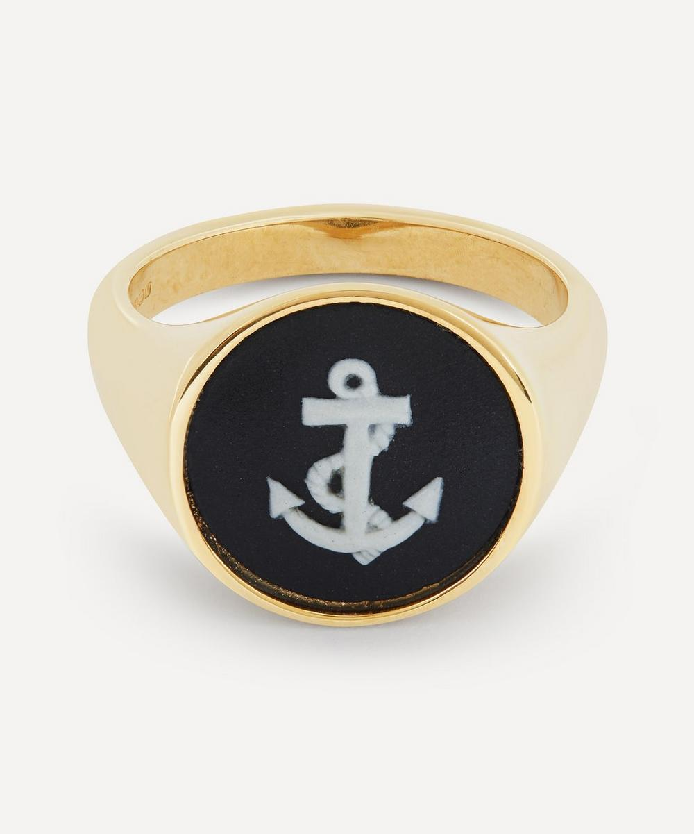 Gold Wedgwood Anchor Round Signet Ring
