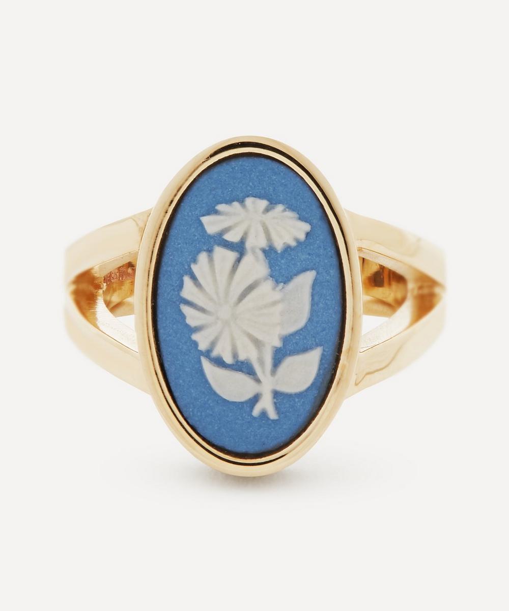 Gold Wedgwood Flower Medium Oval Split Ring