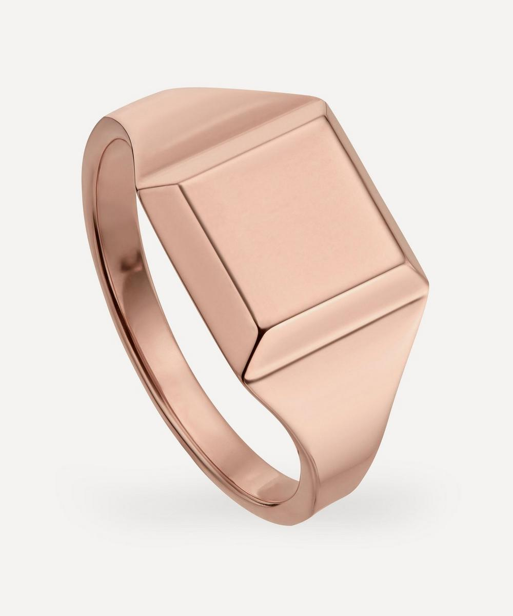 Rose Gold Plated Vermeil Silver Signature Signet Ring