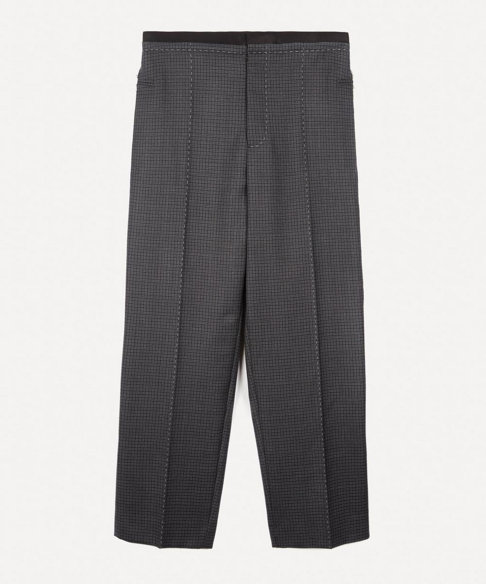 Contrast Stitch Check Wool Trousers