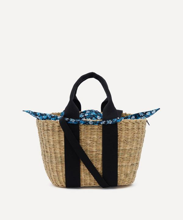 Mini Caba Woven Straw and Sarah Print Cotton Tote Bag