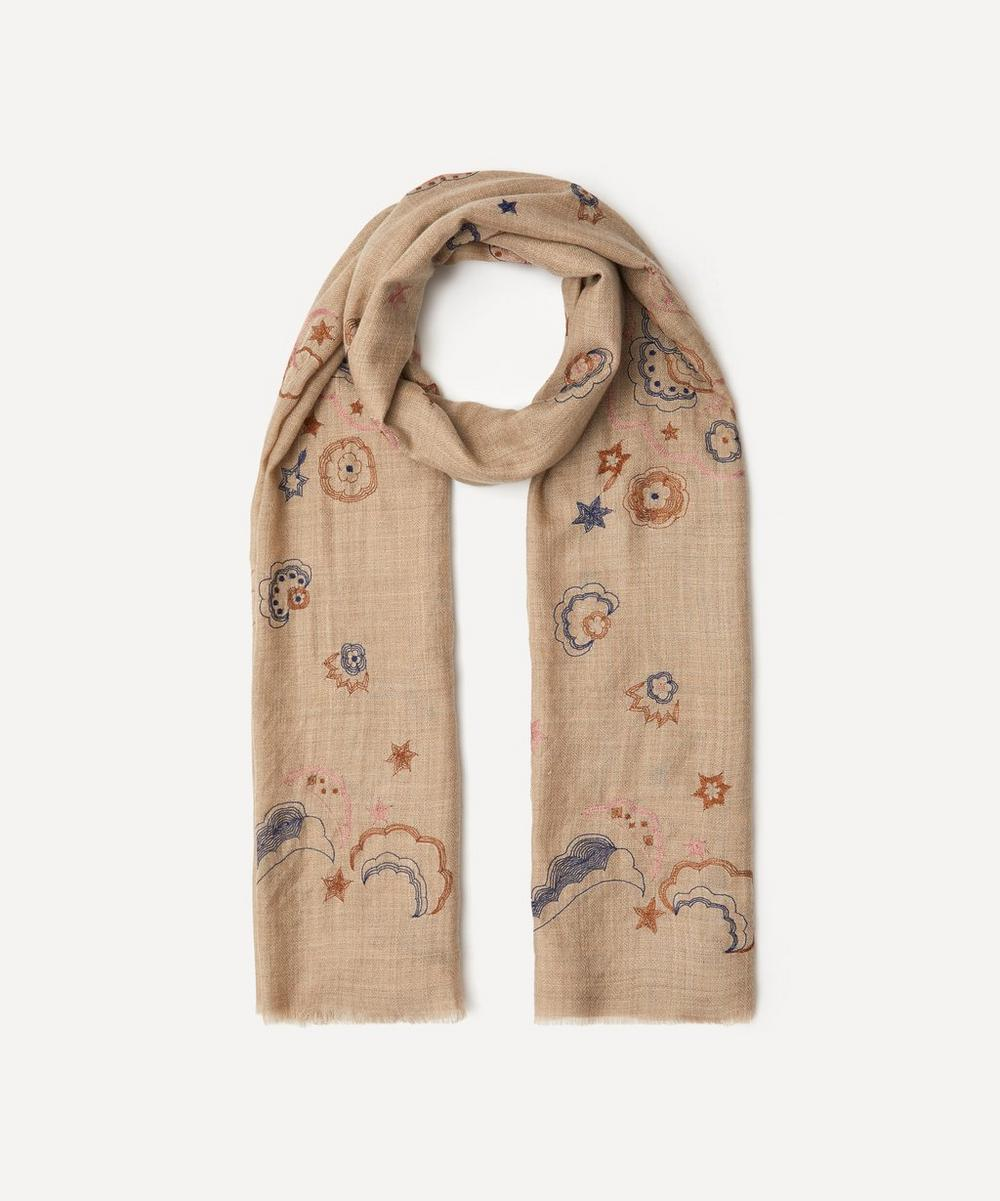 Mystical Swan Embroidered Wool-Blend Scarf