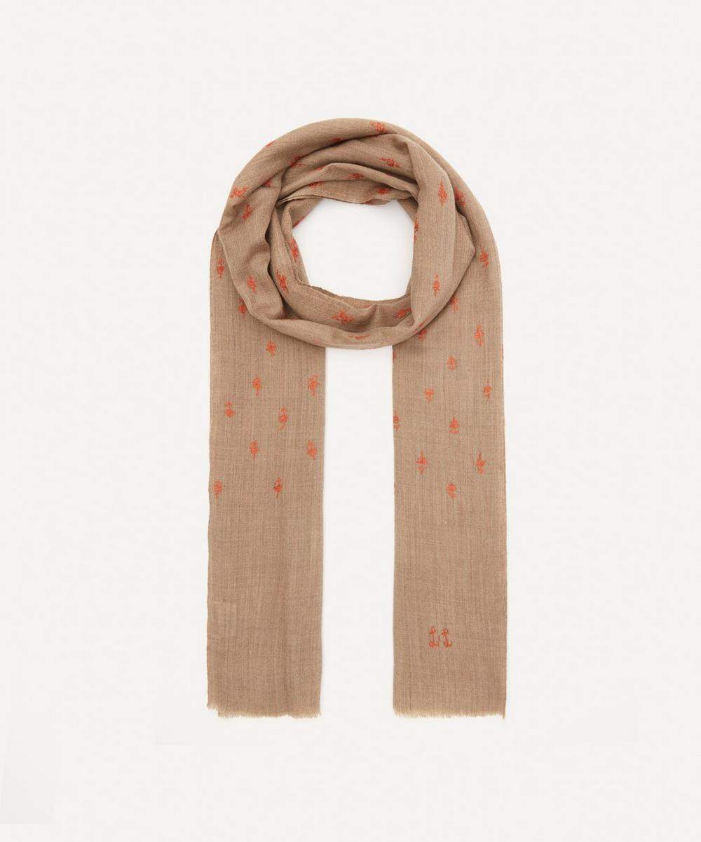 Floral Embroidered Wool-Blend Scarf