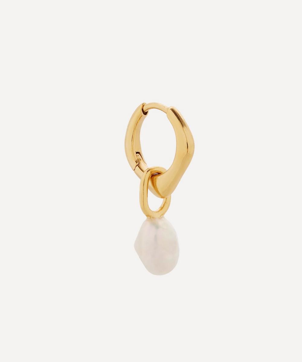 Gold-Plated Vento Pearl Huggie Hoop Earring
