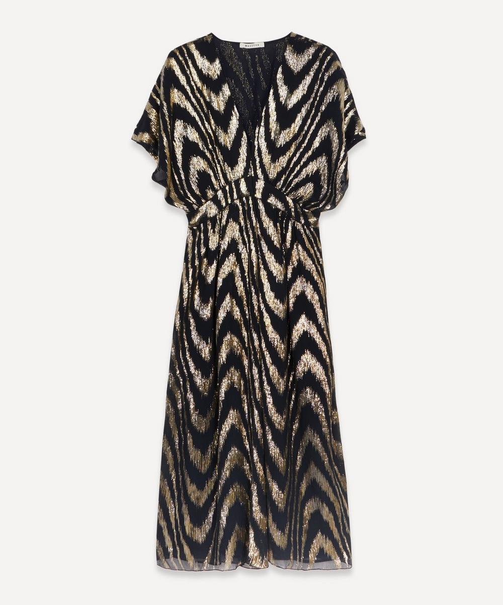 Astrid Silk-Lurex Midi-Dress