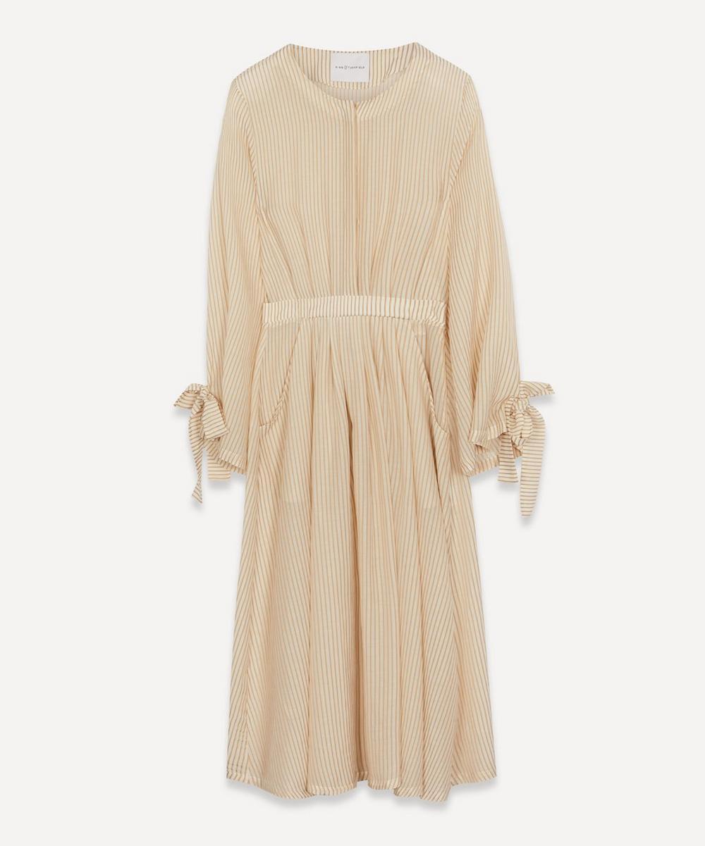 Long-Sleeve Stripe Midi-Dress