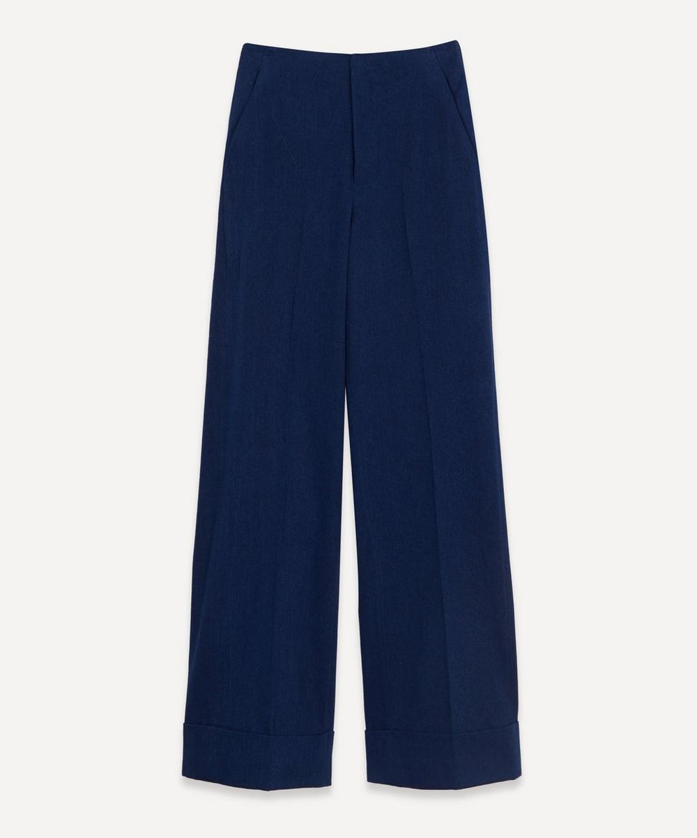Flat Front Cuffed Cotton Trousers