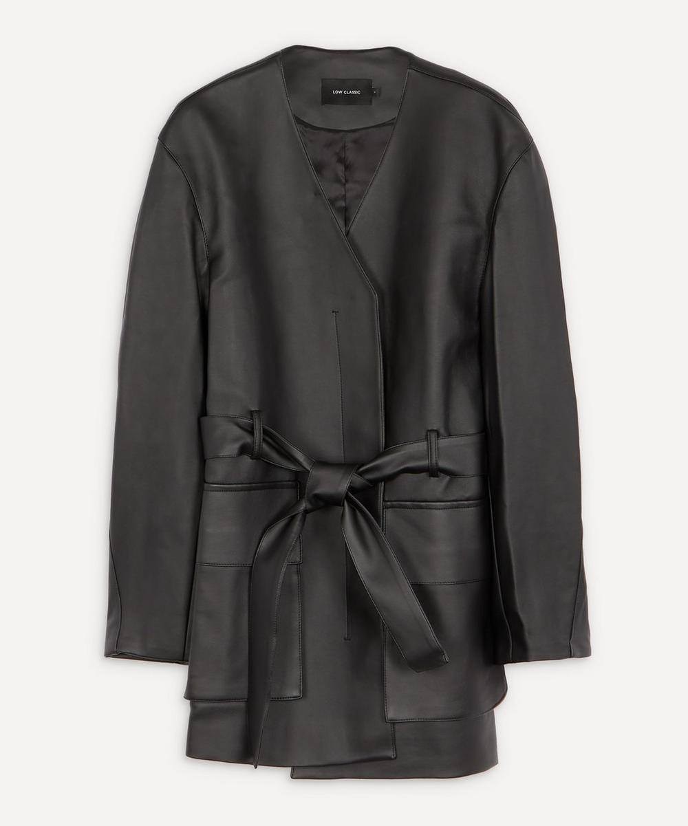 Belted Faux-Leather Jacket