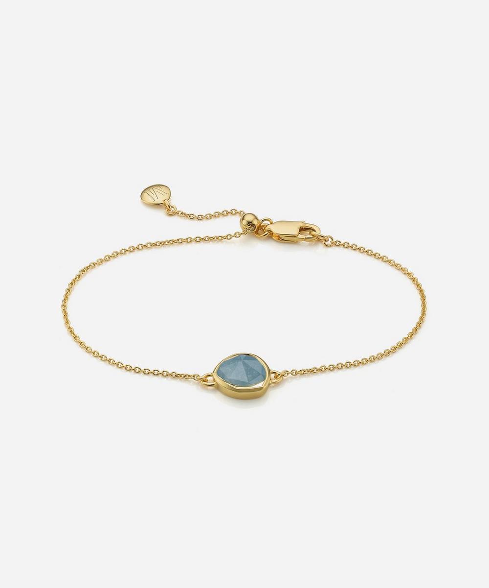 Gold Plated Vermeil Silver Siren Aquamarine Fine Chain Bracelet