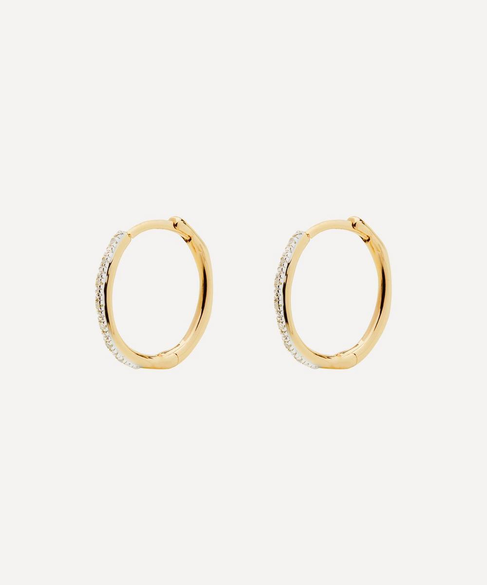 Gold Plated Vermeil Silver Riva Wave Medium Diamond Hoop Earrings