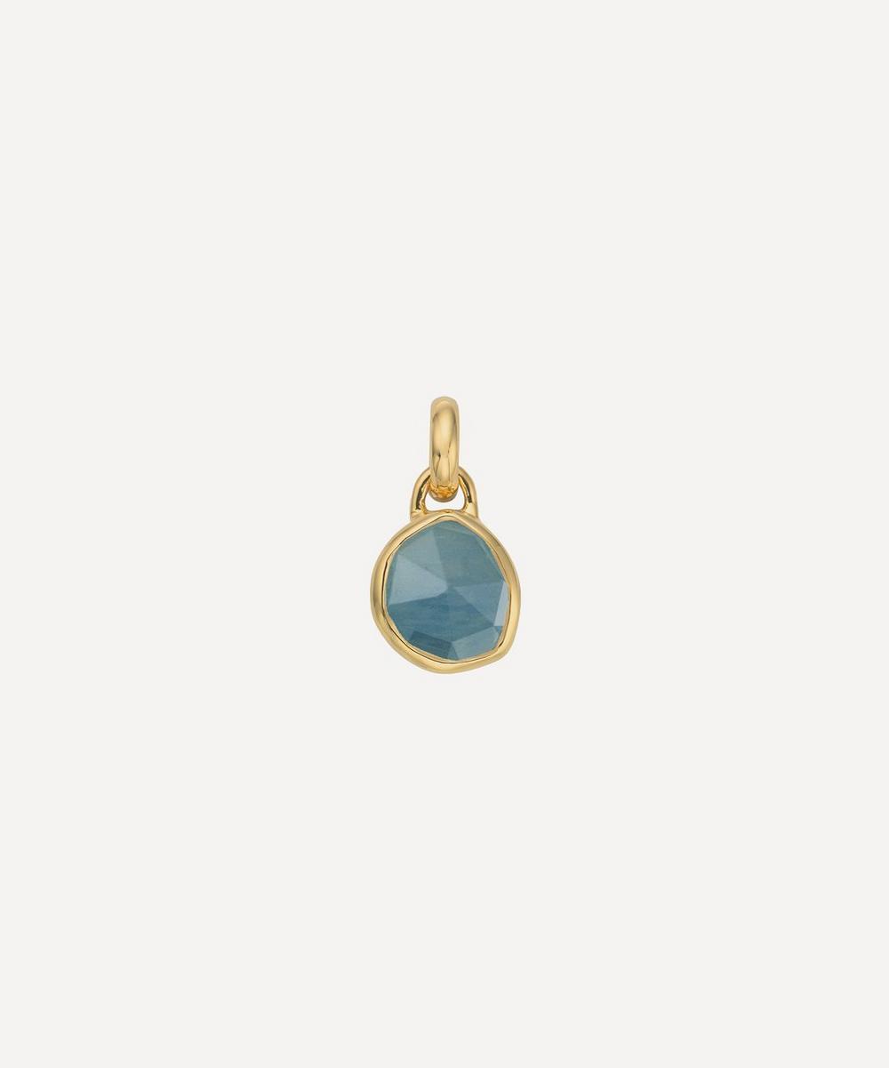 Gold Plated Vermeil Silver Siren Mini Aquamarine Pendant Charm