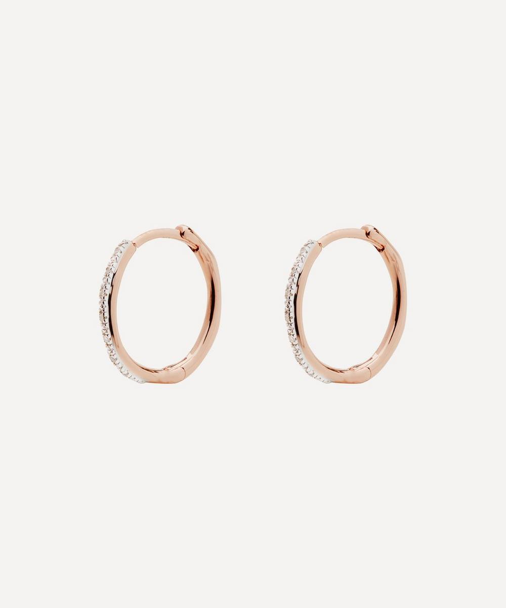 Rose Gold Plated Vermeil Silver Riva Wave Medium Diamond Hoop Earrings