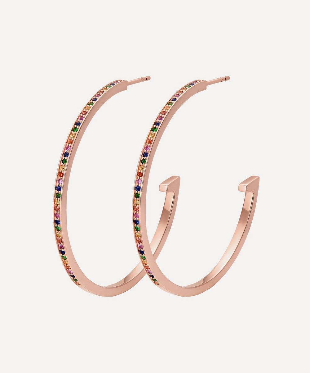 Rose Gold Plated Vermeil Silver Skinny Gemstone Large Hoop Earrings