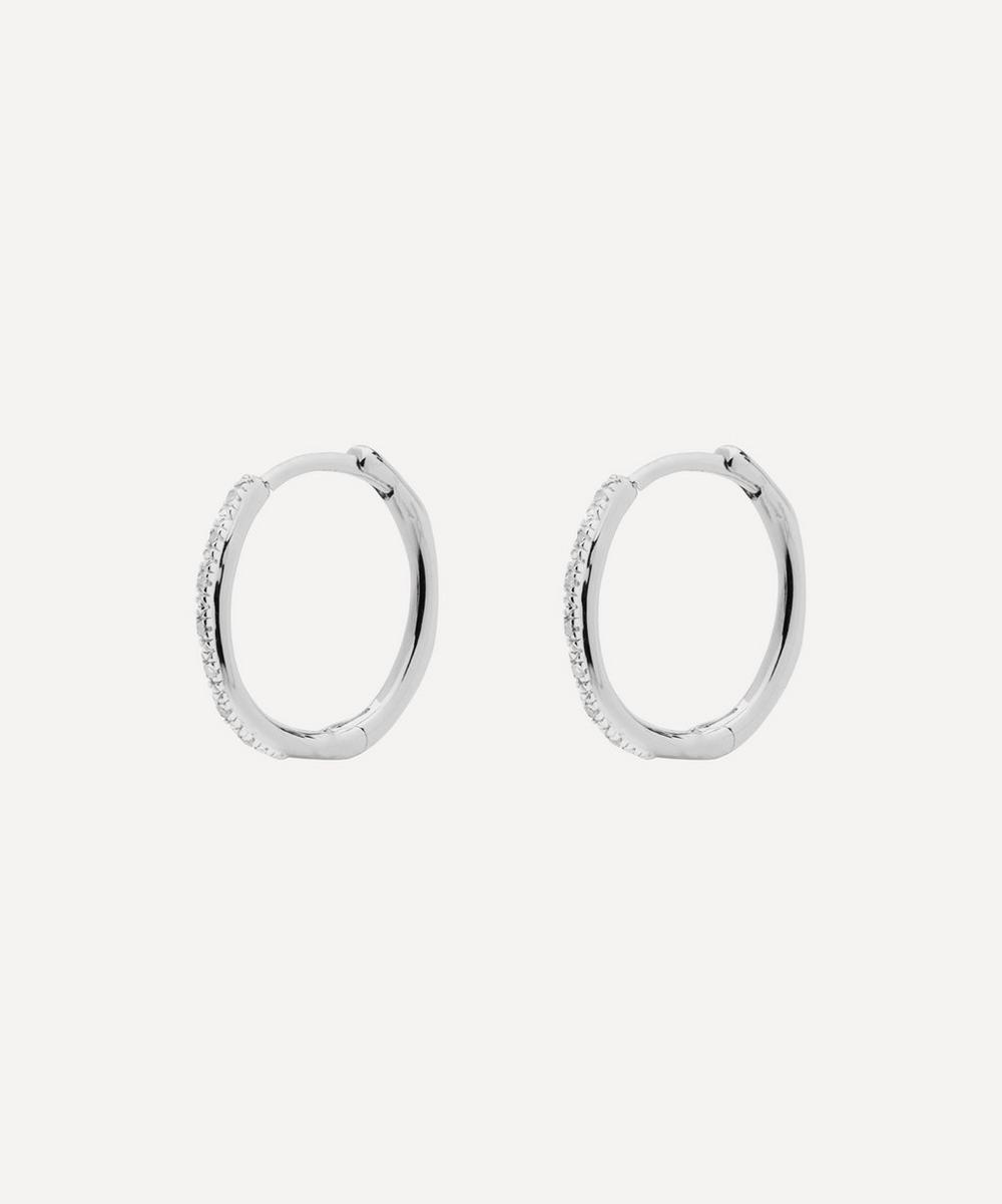 Silver Riva Wave Medium Diamond Hoop Earrings