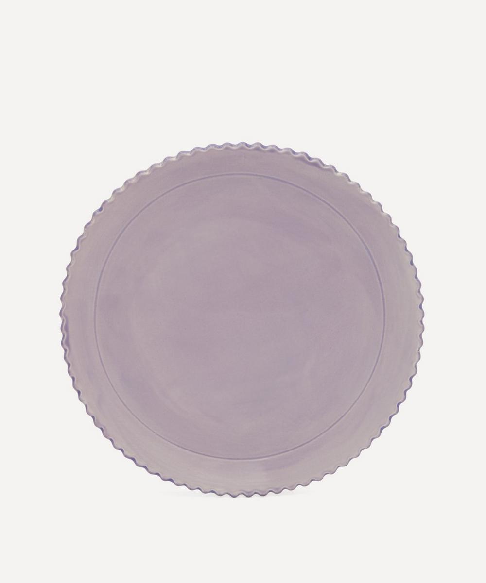 Scalloped Edge Stoneware Dinner Plate