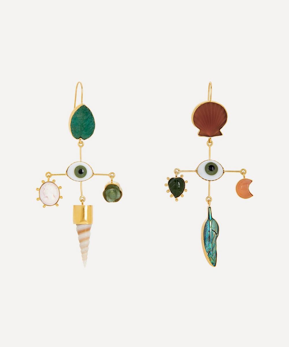 Gold-Plated Eye Cross Asymmetric Multi-Stone Drop Earrings