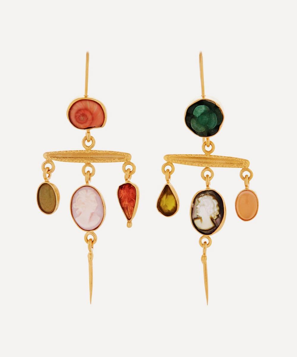 Gold-Plated Asymmetric Multi-Stone Victorian Drop Earrings